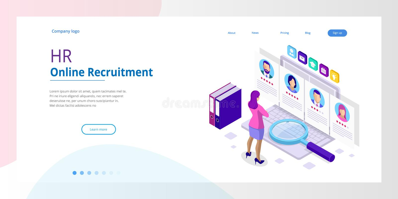 Isometric online job search and human resource, recruitment concept. We are hiring. Presentation for employment and royalty free illustration