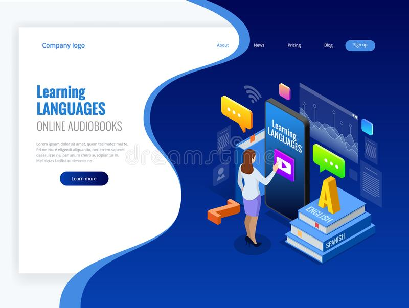 Isometric Online Language Learning Interface and Teaching Concept. Online language school lifestyle. Education Concept vector illustration