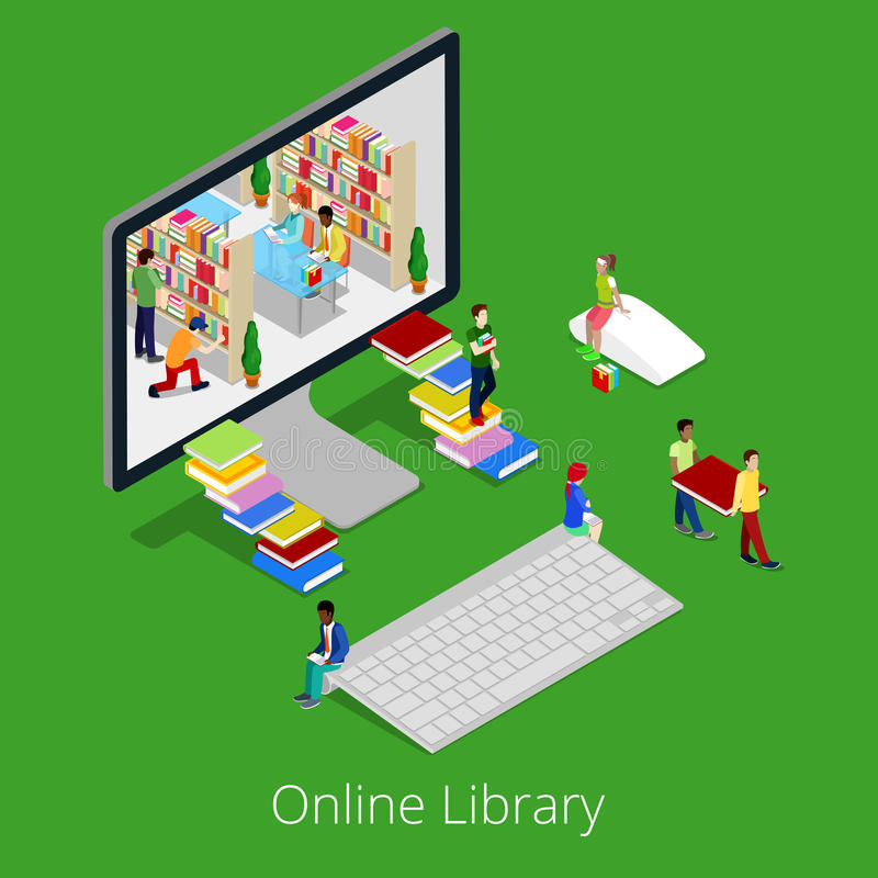 Isometric Online Library. People Reading Books Inside Computer. Flat 3d Educational Concept vector illustration