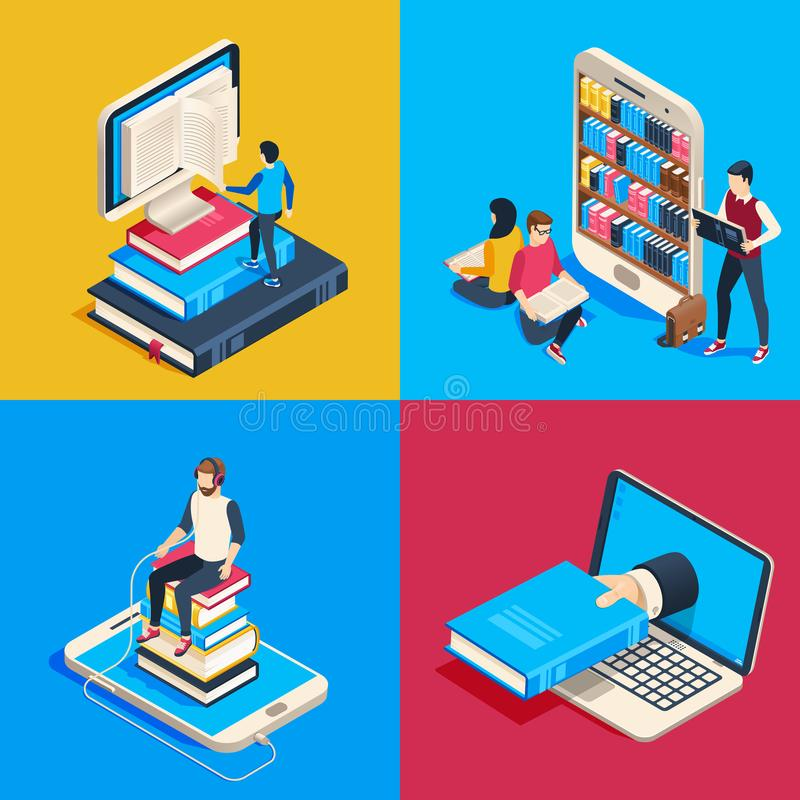 Isometric online library. Students reading books on smartphone, studying science book and read book on reader vector 3d stock illustration