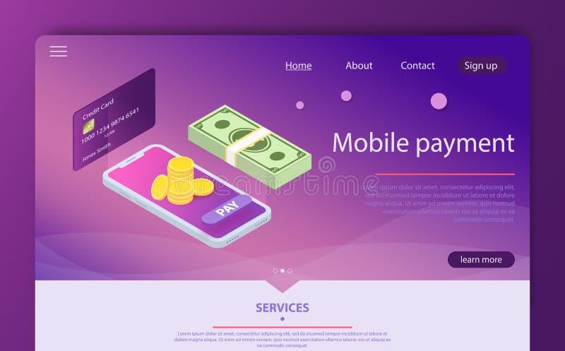 Isometric online płatniczy online pojęcie Pieniądze przelewanie przez smartphone app royalty ilustracja