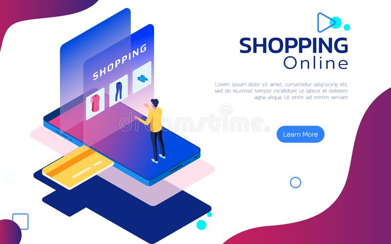 Isometric online shopping. Man stand on smartphone in front of a screen for customer application online shopping. Mobile shopping vector illustration