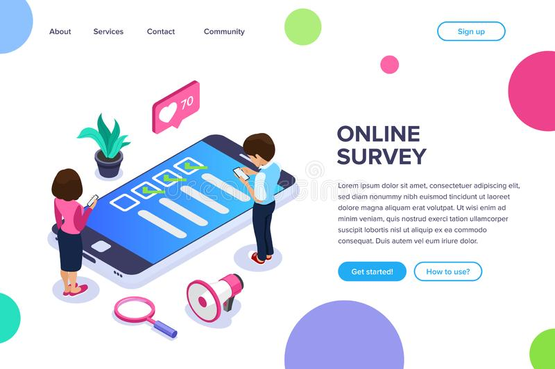 Isometric online survey concept. Vote or checklist. Man and woman from mobile devices are surveyed on the site. Can use royalty free illustration