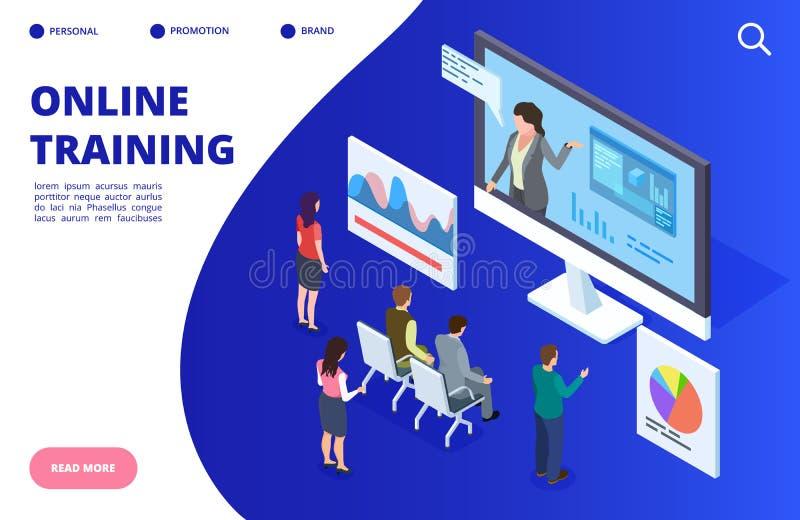 Isometric online video training, webinar vector illustration. Online education banner, landing page concept stock illustration
