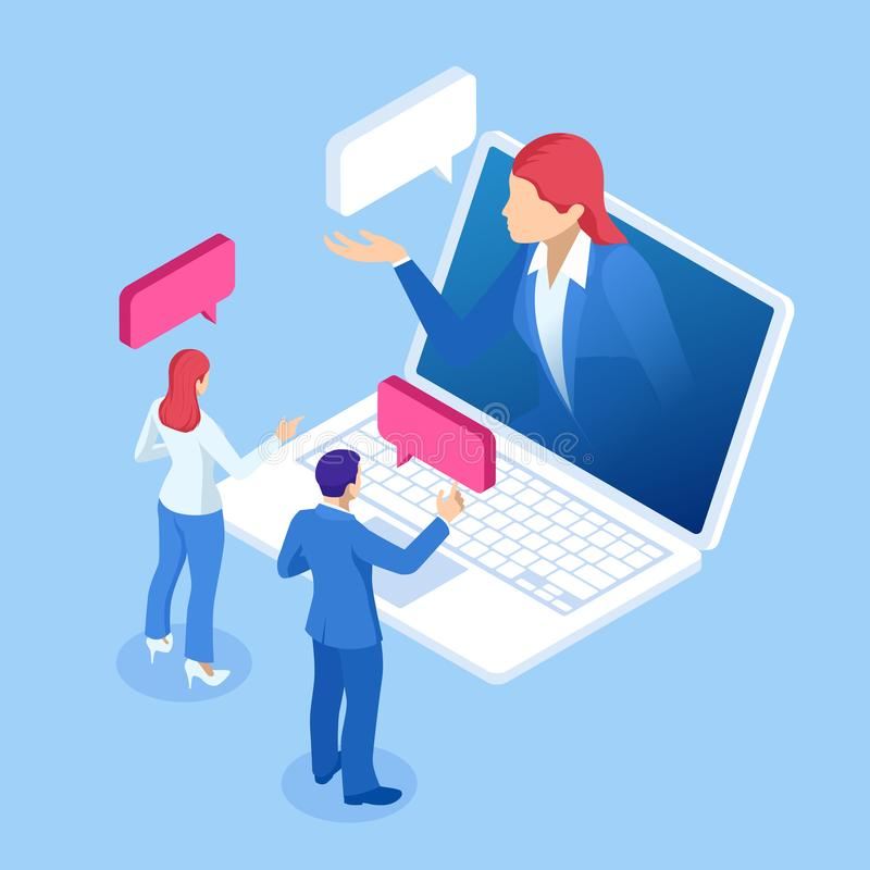 Isometric online virtual assistant services and artificial intelligence concept. Chat bot and future marketing. AI and stock illustration