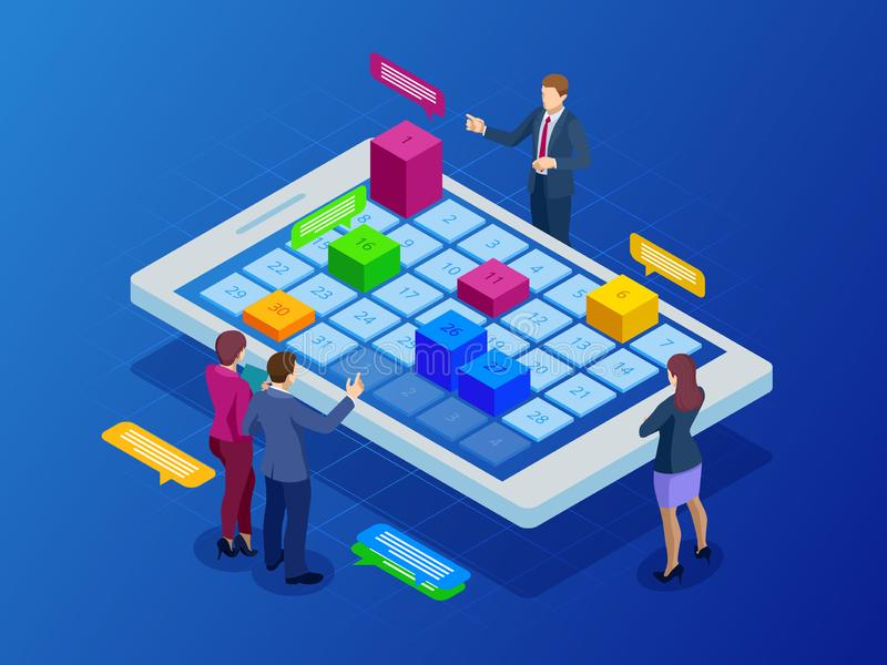 Isometric online weekly schedule and calendar planner organization management on smartphone or tablet. Online business. Workflow, time management, planning royalty free illustration