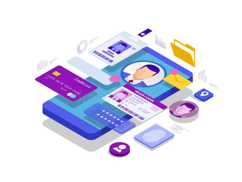 Isometric Osobisty dane informacji App, tożsamości Intymny pojęcie Cyfrowi dane zabezpieczają sztandar Biometrii technologia royalty ilustracja