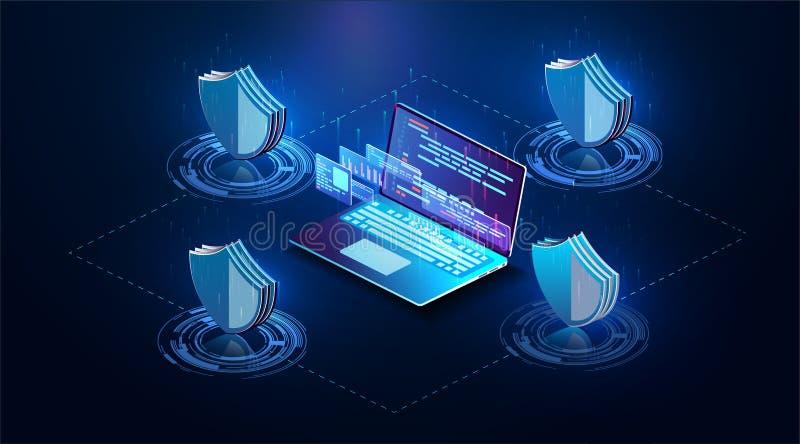 Isometric osobisty dane ochrony sieci sztandaru pojęcie Cyber prywatność i ochrona Sieci technologii cyfrowej pojęcie royalty ilustracja