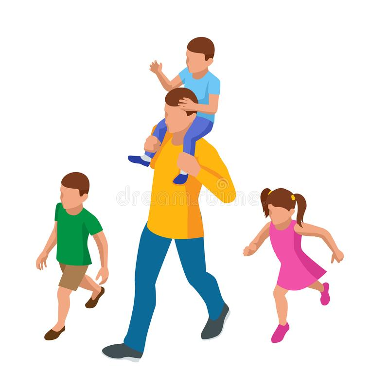 Isometric outdoor recreation Leisure for the family. Father, sons, and daughter. Happy Father`s Day. stock illustration