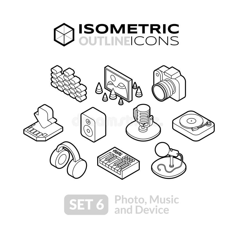 Isometric outline icons set 6. Isometric outline icons, 3D pictograms vector set 6 - Photo music and device symbol collection vector illustration