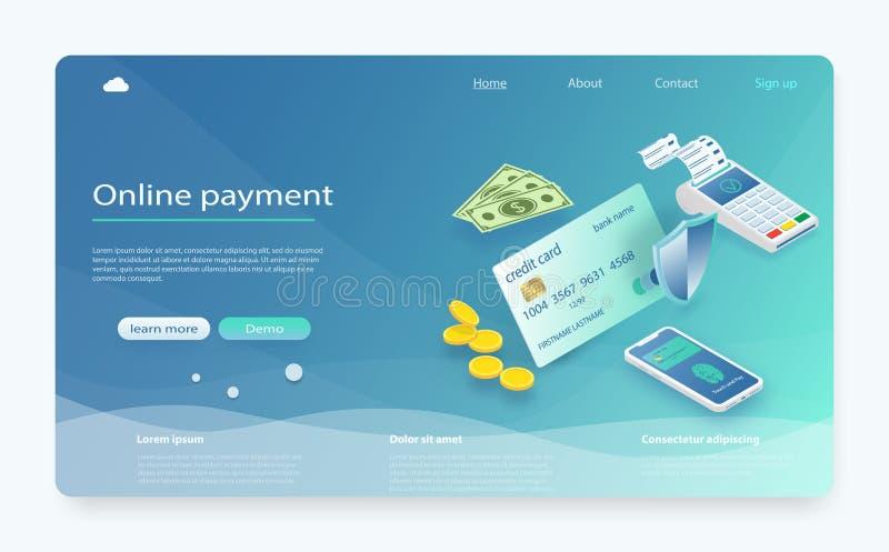 Isometric płatniczy online pojęcie Smartphone z mobilnym interfejsu systemem płatności, pieniądze Ochrona przelew pieniędzy, onli ilustracji
