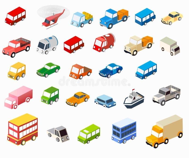 Isometric płascy samochody ilustracja wektor