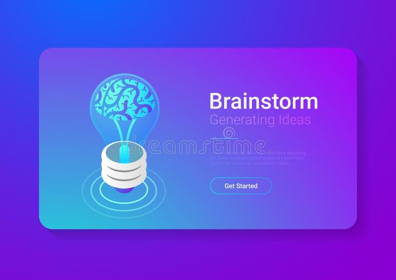 Isometric Płaski Brainstorm pomysłów wektoru illustratio ilustracji