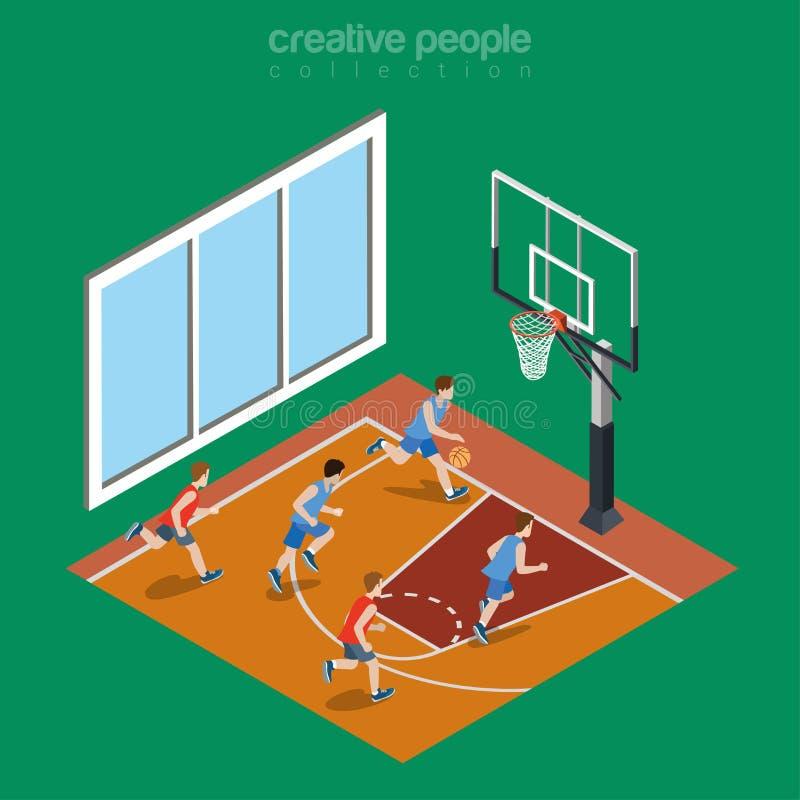 Isometric płaski salowy boisko do koszykówki boisko royalty ilustracja