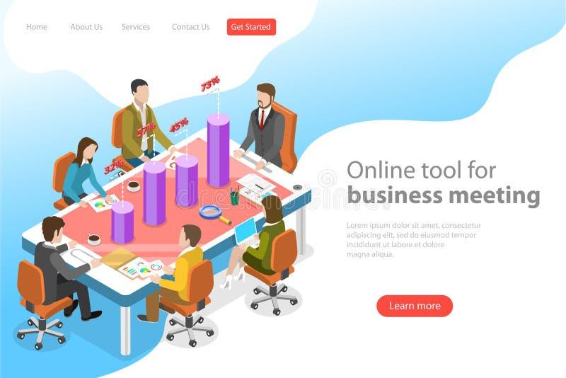Isometric płaski wektorowy lądowanie strony szablon biznesowego spotkania app ilustracji