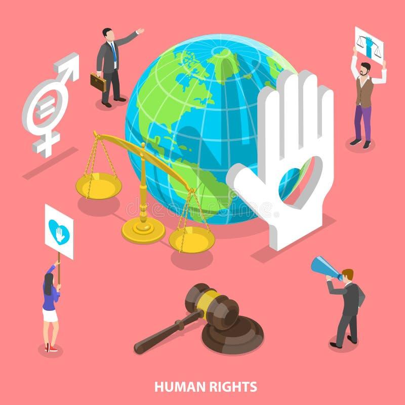 Isometric płaski wektorowy pojęcie cywilny i prawa człowieka, wolontariusza ruch ilustracja wektor