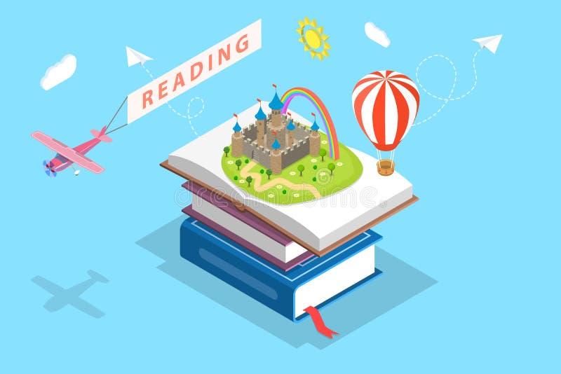Isometric płaski wektorowy pojęcie dziecka czytanie, wyobraźnia ilustracji
