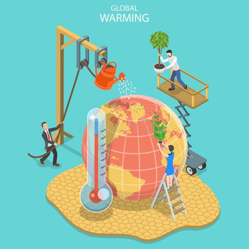 Isometric płaski wektorowy pojęcie globalne ocieplenie, zmiana klimatu royalty ilustracja