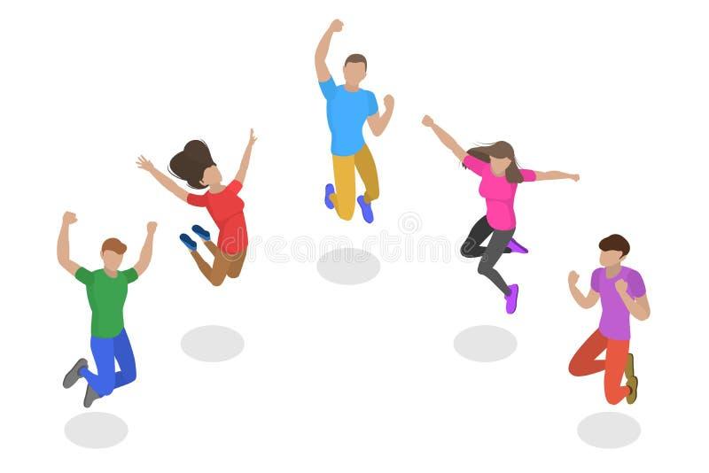 Isometric płaski wektorowy pojęcie skakać szczęśliwych ludzi, drużynowy sukces ilustracja wektor