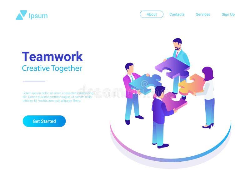 Isometric Płaski wektorowy zarządzanie pracy zespołowej biznes ilustracja wektor