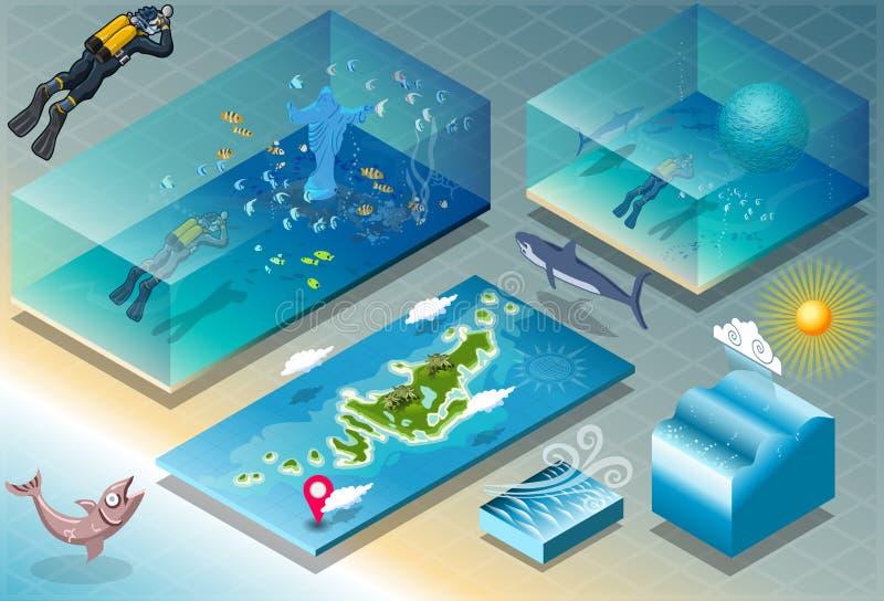 Isometric płytka Karaibscy Nurkowi wakacje ilustracja wektor