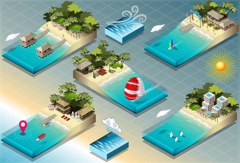 Isometric płytki Karaibscy wakacje ilustracja wektor