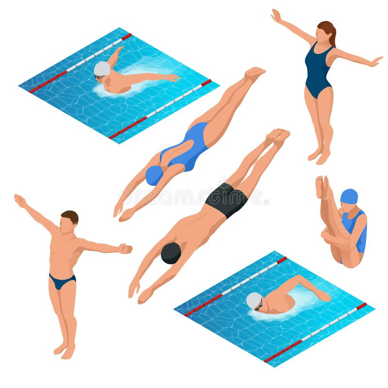 Isometric pływacki basen, pływaczka charakterów wektoru ludzka ilustracja royalty ilustracja