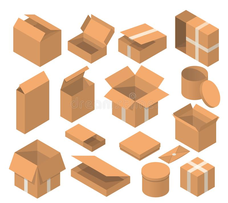 Isometric packaging box vector set. cardboard boxes collection in cartoon style solated on white background. royalty free stock images