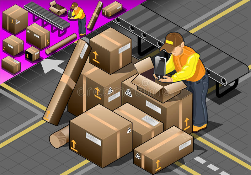 Isometric Packer at Work with Boxes stock illustration