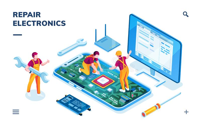Isometric page for electronics repair service royalty free illustration