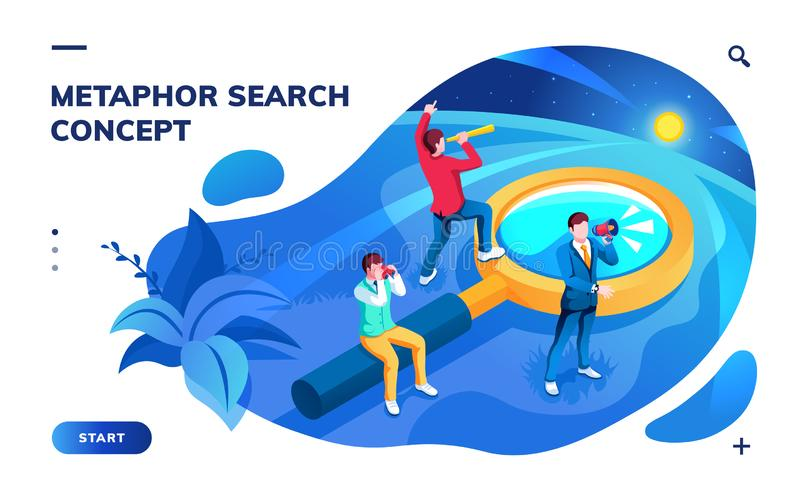 Isometric page for search concept or metaphor. Isometric page for search concept. Metaphor for SEO and job, work, news and information searching. Analysis and stock illustration