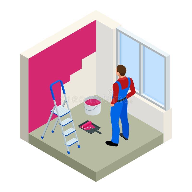 Isometric Paintroller maluje biel ścianę z rolkową czerwoną farbą Mieszkania 3d nowożytna wektorowa ilustracja Paintroller, ludzi ilustracja wektor