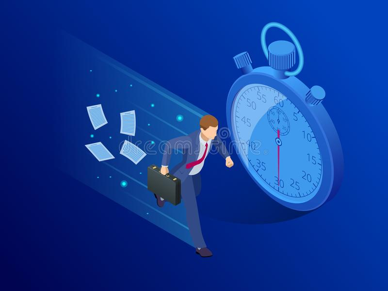Isometric Panic deadlines concept. Lack of time concept. Vector illustration vector illustration