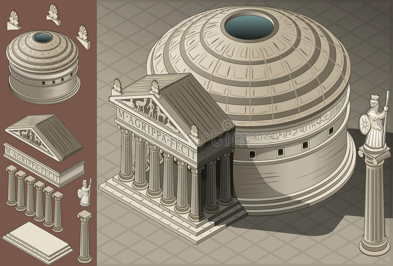 Isometric Pantheon Temple in Roman Architecture royalty free illustration
