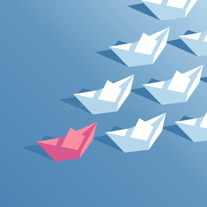 Isometric paper boats stock illustration