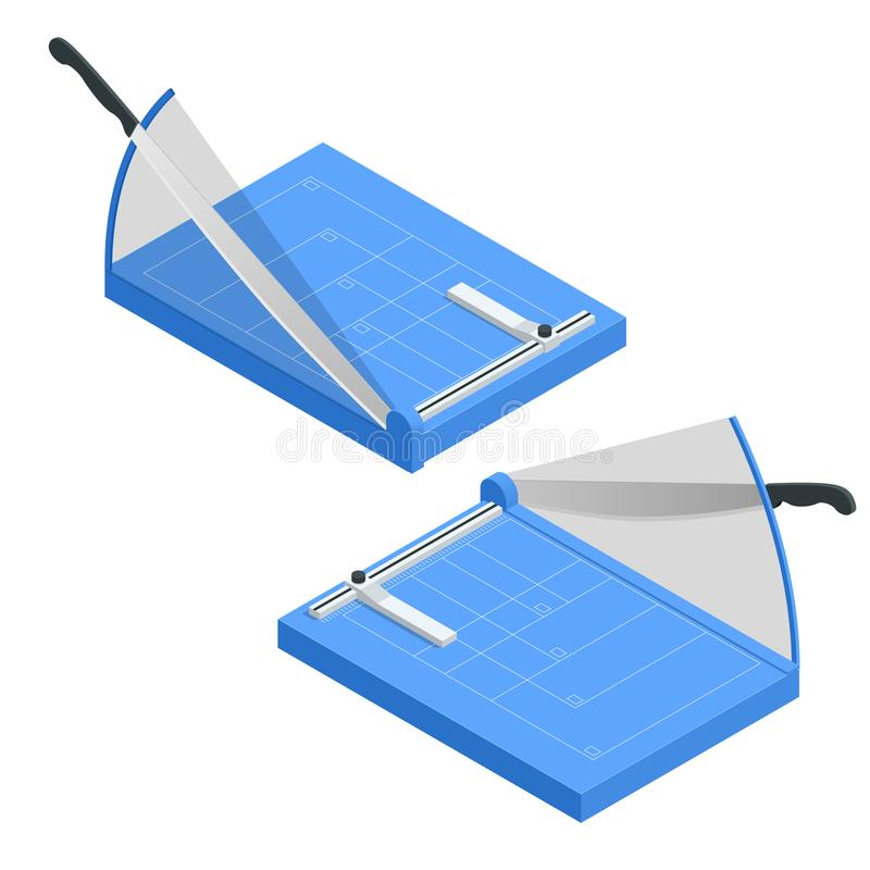 Free Isometric Paper Cutter Isolated On White Background. Paper Cutter Cutting Paper A4, Manufacture Work Vector Illustration Stock Photos - 134318893