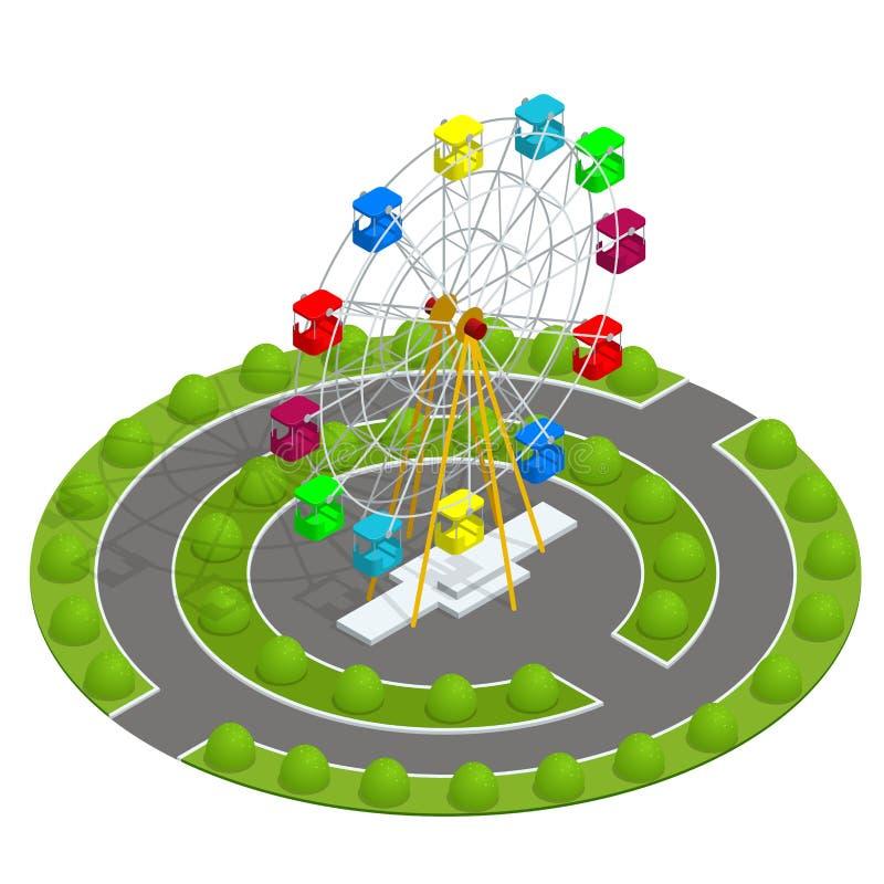 Isometric park rozrywki z ferris kołem Rodzinny wakacje wakacje pojęcie Płaska wektorowa ilustracja ilustracji