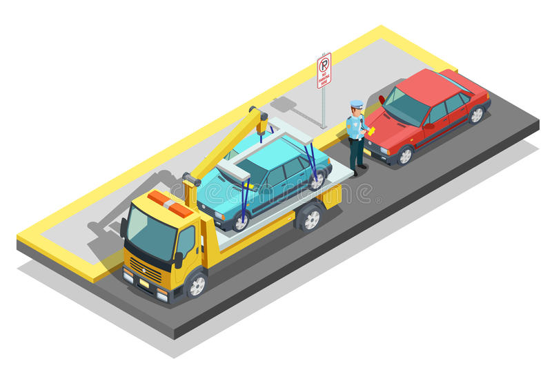 Isometric Parking Composition. Colored isometric parking composition tow truck working on the roadside and evacuate a parked car vector illustration vector illustration