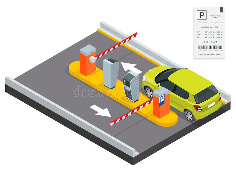 Isometric Parking payment station, access control concept. Parking ticket machines and barrier gate arm operators are. Installed at the entrance and exit of vector illustration