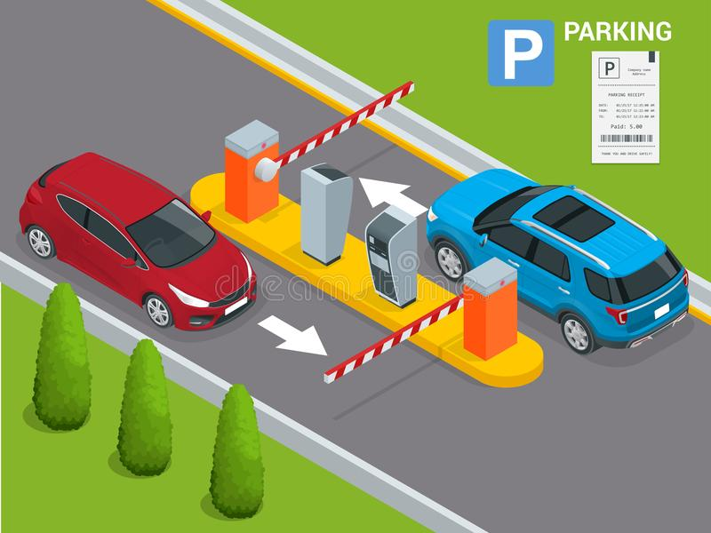 Isometric Parking payment station, access control concept. Parking ticket machines and barrier gate arm operators are. Installed at the entrance and exit of royalty free illustration