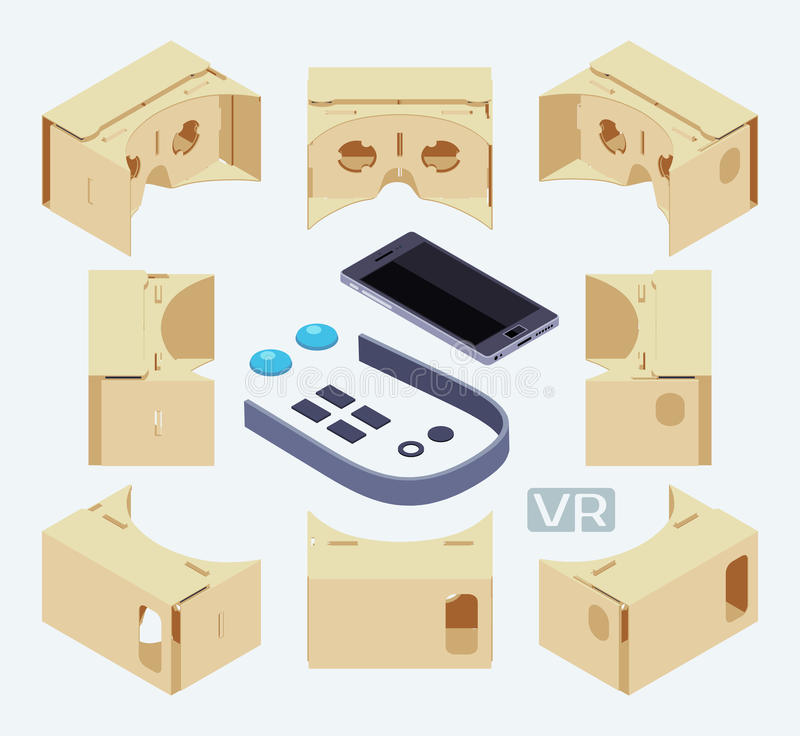 Isometric parts of the cardboard virtual reality royalty free illustration