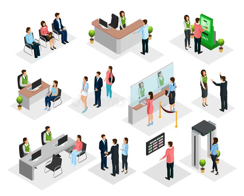 Isometric People In Bank Collection stock illustration