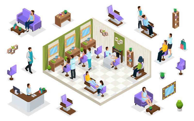 Isometric People In Beauty Salon Concept royalty free illustration