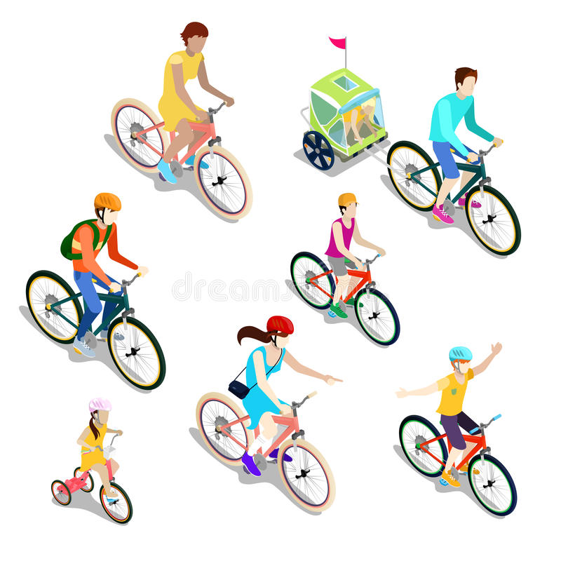 Isometric People on Bicycles. Family Cyclists. stock illustration