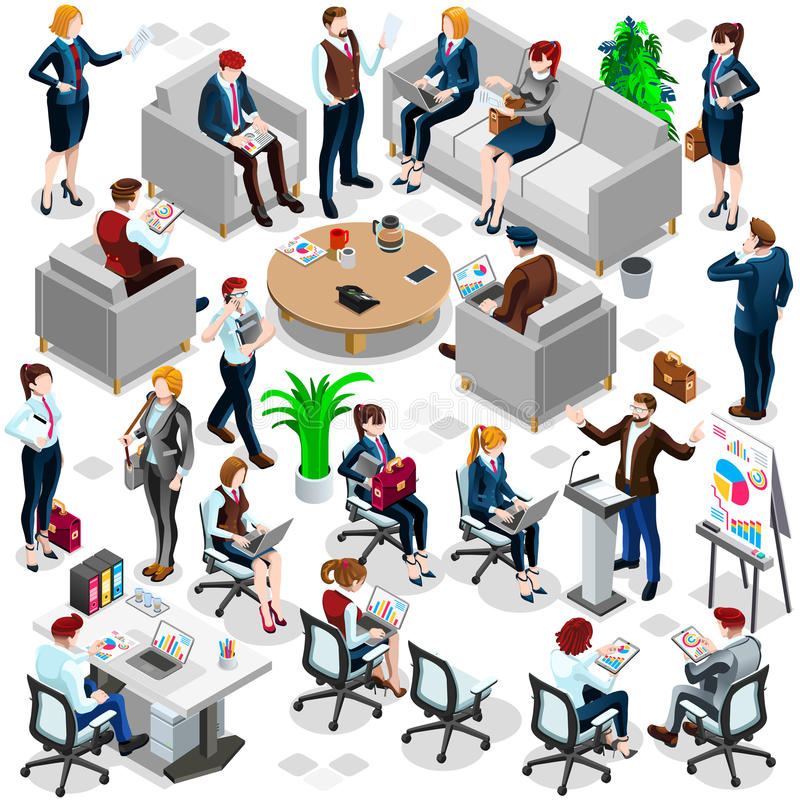 Isometric People Business Crowd Icon 3D Set Vector Illustration. Isolated Group of Diverse Isometric Business People. 3D meeting infograph crowd with standing royalty free illustration