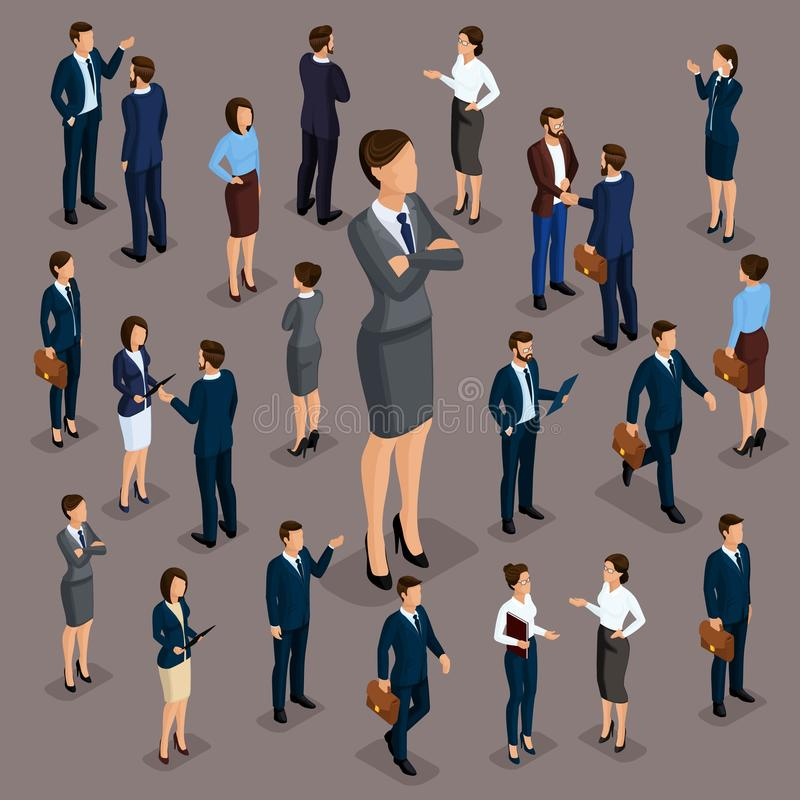 Free Isometric People, Businessmen 3D Business Woman. Set 2 Office Staff, The Crowd Of People, Under The Head On A Dark Background Stock Photos - 139194853