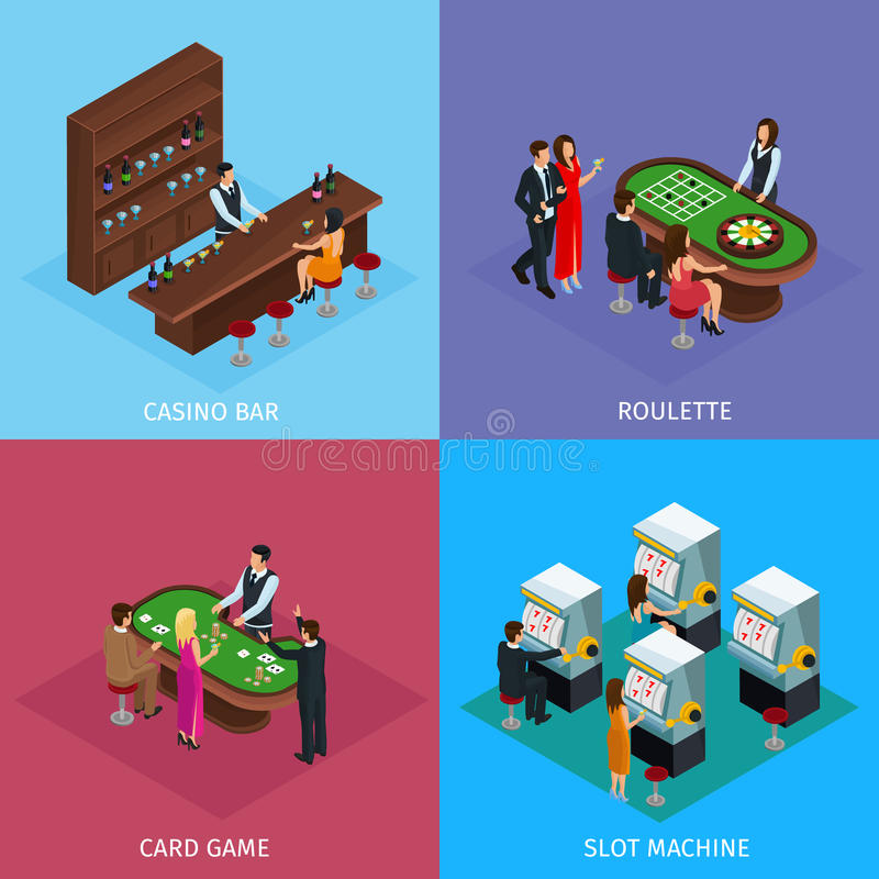 Isometric People In Casino Square Concept. With bar roulette poker games and slot machines vector illustration stock illustration