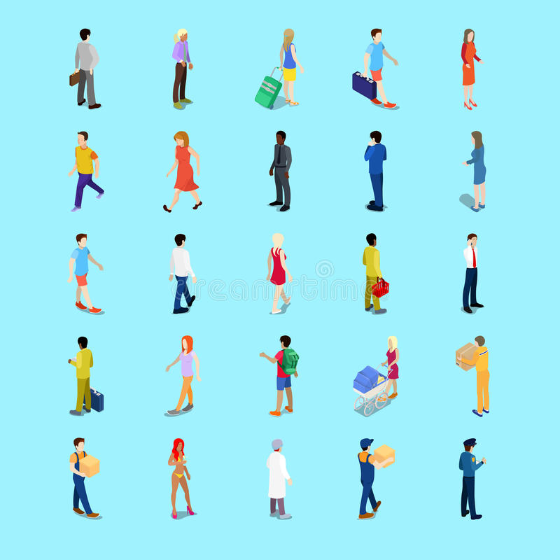 Isometric People Collection. Businessman, Tourist, Mother with Baby Carriage, Walking People vector illustration