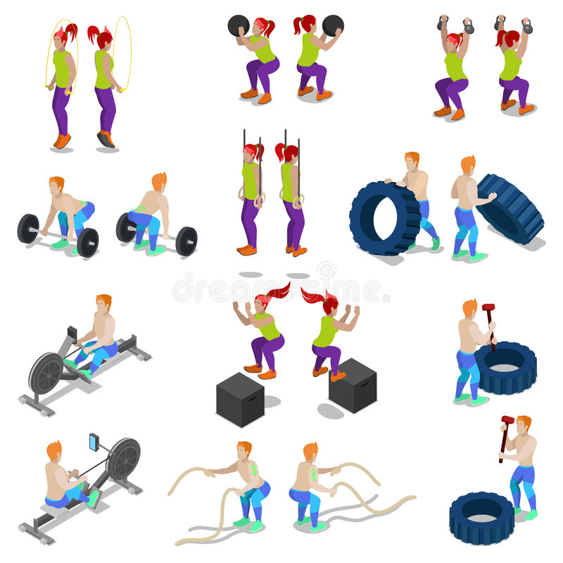 Isometric People on Crossfit Gym Workout and Exercises royalty free illustration
