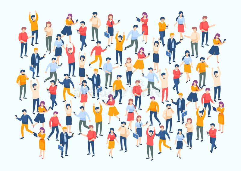 Isometric people crowd. Large people group, different male and female characters, business audience concept. Vector stock illustration